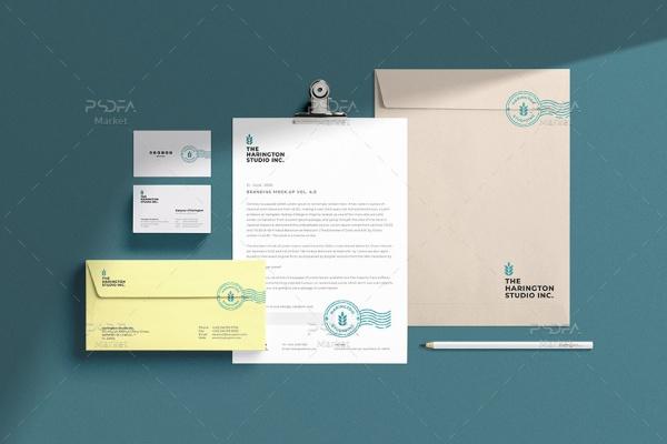موکاپ ست اداری شامل پاکت نامه، کارت ویزیت و سربرگ لایهباز
