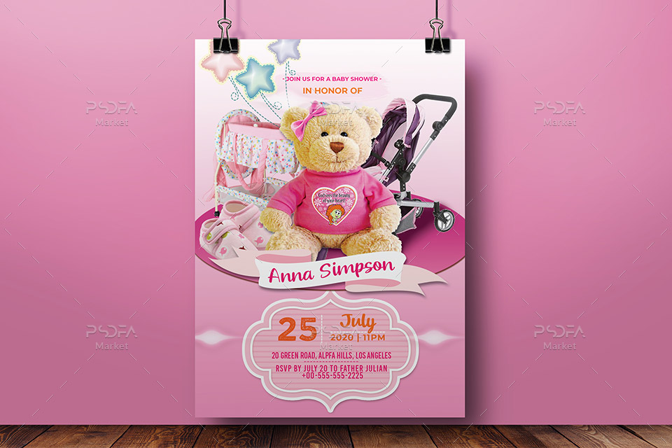 پوستر و تراکت سیسمونی نوزاد دختر لایهباز PSD برای فتوشاپ
