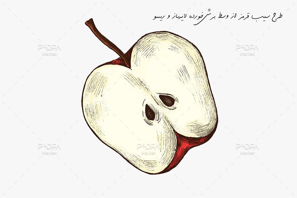 طرح سیب قرمز از وسط برش خورده لایهباز PSD رنگی و ریسو