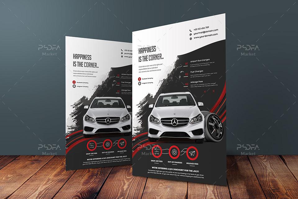 تراکت نمایشگاه ماشین و اتومبیل لایهباز PSD برای فتوشاپ