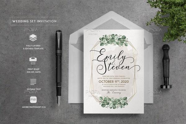 لایهباز کارت عروسی با طرح گلهای آبرنگی