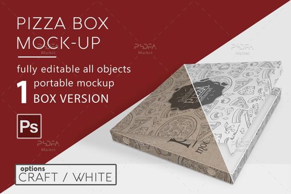 موکاپ جعبه پیتزا در حالات و نماهای مختلف برای فتوشاپ