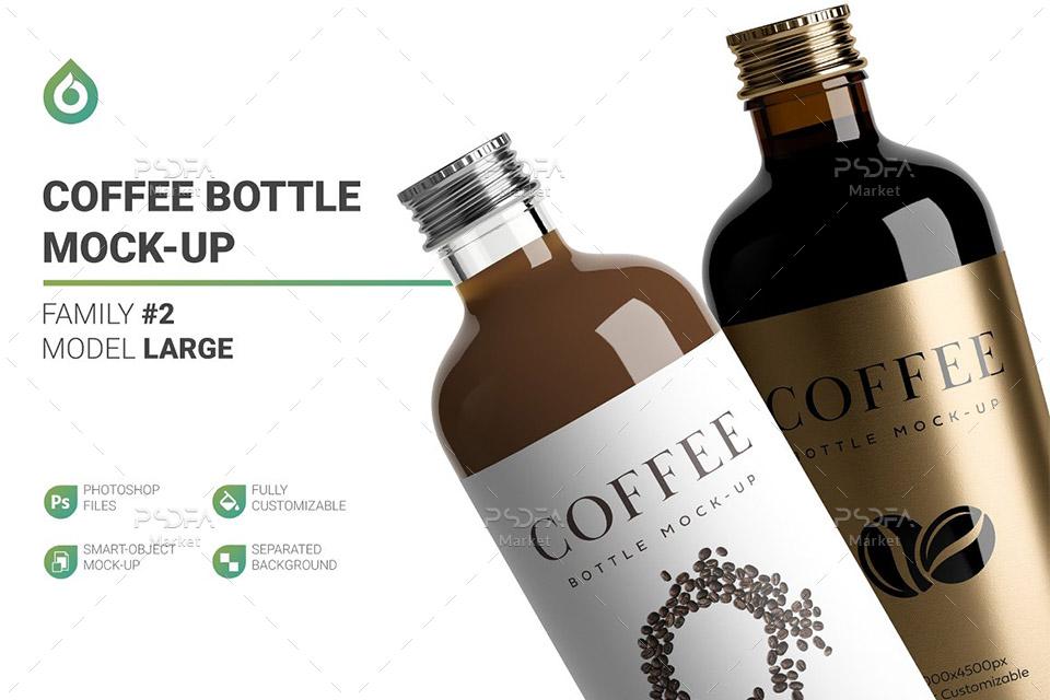 موکاپ شیشه و بطری قهوه لایهباز قابل ویرایش در فتوشاپ