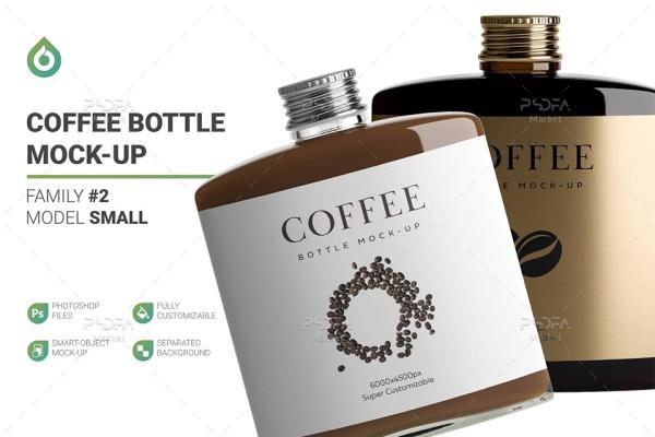 موکاپ شیشه و بطری قهوه کوچک