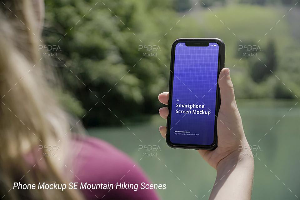 موکاپ گوشی آیفون SE در دست کوهنورد و گردشگر