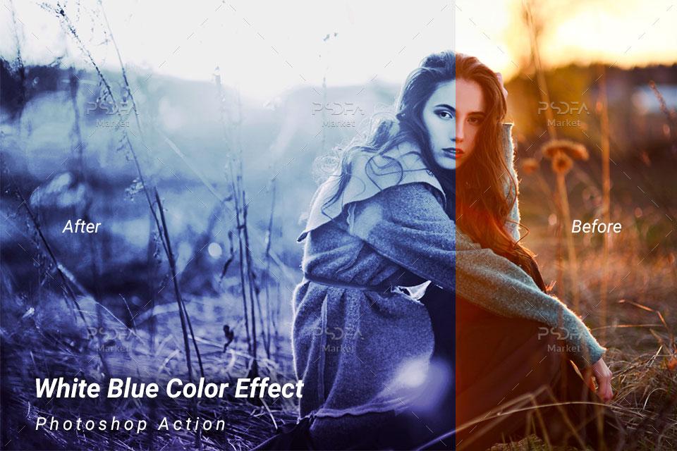 افکت رنگی آبی روشن بر روی عکس و تصاویر در فتوشاپ با استفاده از اکشن