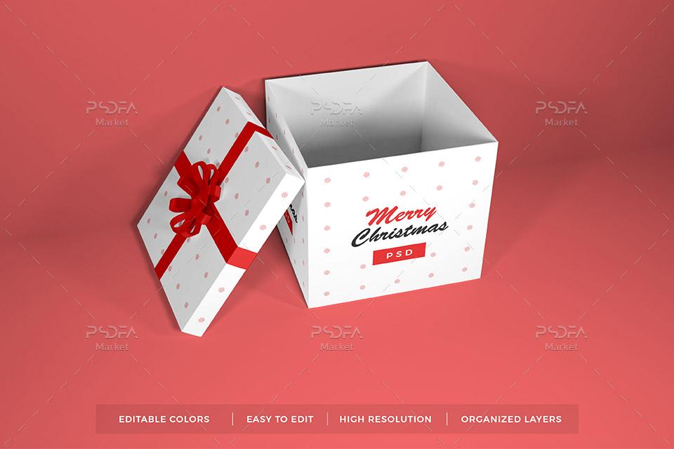 موکاپ جعبه هدیه و کادو کریسمس در حالات و زوایای مختلف برای فتوشاپ