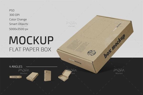 موکاپ جعبه و کارتن محصول در حالات و نماهای مختلف برای فتوشاپ