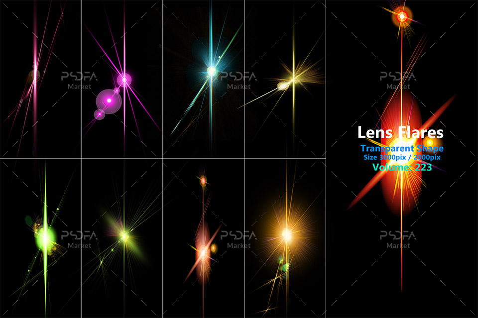 افکت نور لنز متنوع و رنگی ترنسپرنت و شفاف با کیفیت بالا