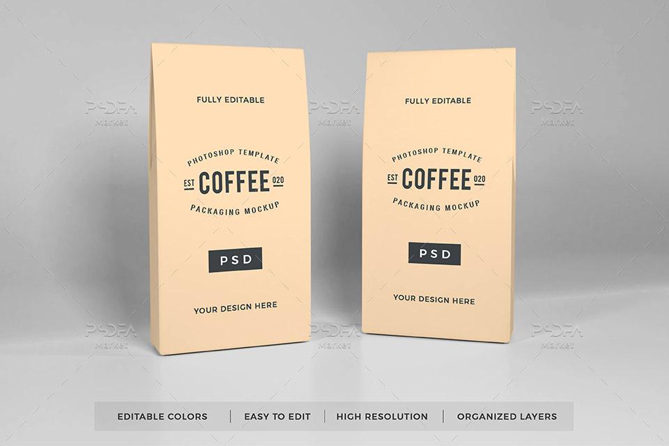 موکاپ پاکت کاغذی قهوه معلق در نماهای مختلف مناسب برای فتوشاپ