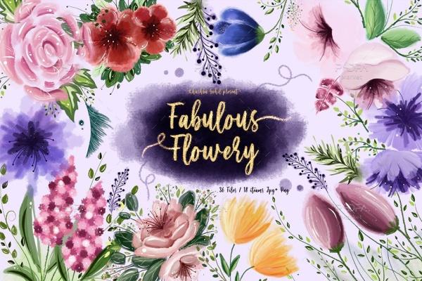 کلیپ آرت گل و شکوفههای متنوع و رنگارنگ مناسب برای طراحی