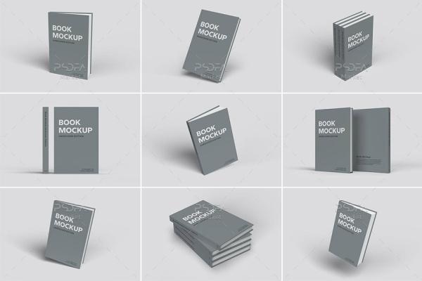 موکاپ جلد کلفت کتاب در حالت و نماهای مختلف – Hardcover Book Mockup