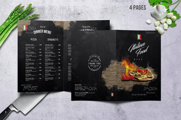 طرح منوی غذایی ایتالیایی لایه باز قابل ویرایش در فتوشاپ