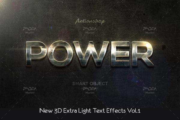 استایل و افکت متن سه بعدی لایت و روشن برای فتوشاپ با فرمت PSD, ASL