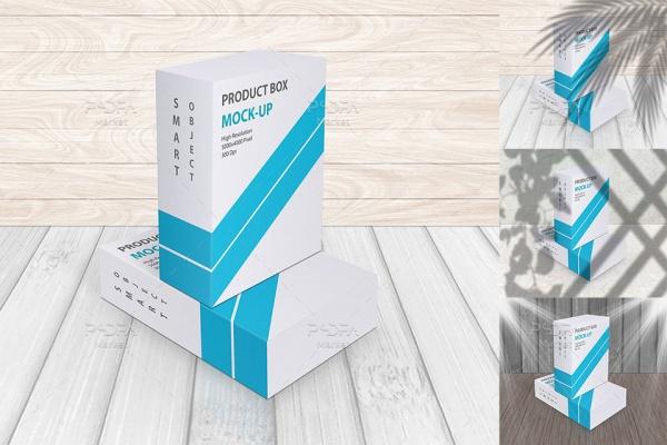 موکاپ جعبه و کارتن محصول به همراه افکتهای سایه و نوری