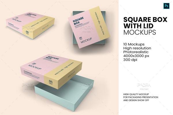موکاپ جعبه شیرینی در نماهای مختلف لایه باز برای فتوشاپ