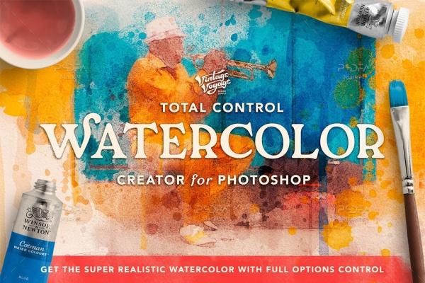 ابزار طراحی و ساخت تصاویر آبرنگی در فتوشاپ با استفاده از براش و گرادینت