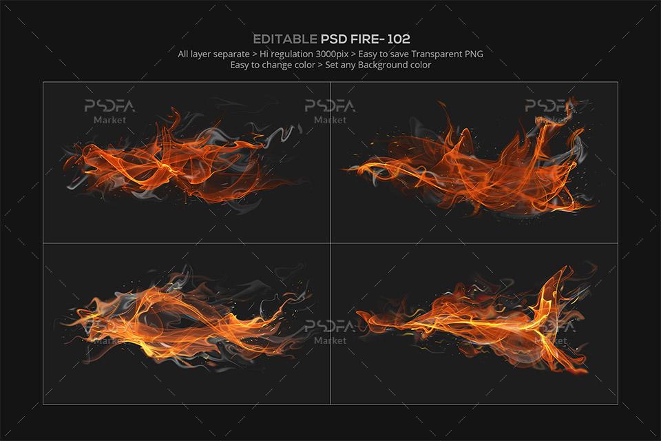 افکت انتزاعی آتش به صورت لایه باز قابل استفاده در فتوشاپ
