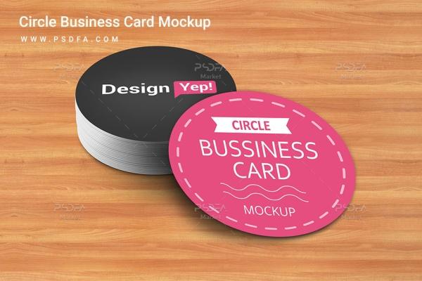 موکاپ کارت ویزیت گرد با بک گراند چوب Circle Business Card Mockup