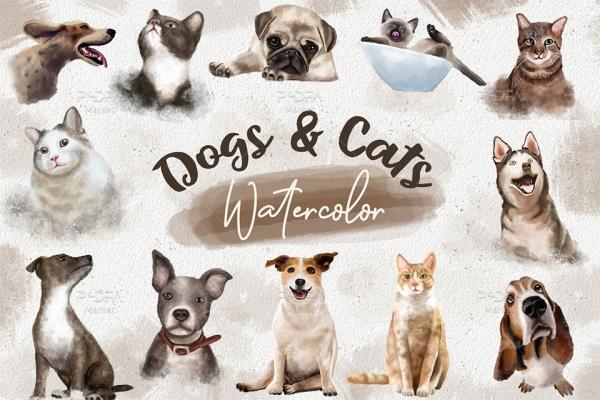 کلیپ آرت سگ و گربه آبرنگی ترنسپرنت و PNG مناسب برای طراحی