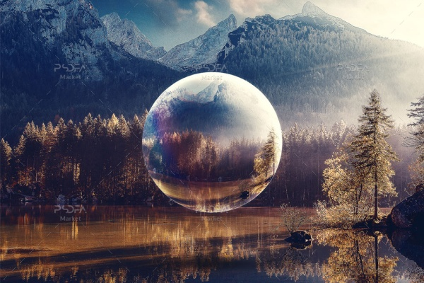 افکت گوی شیشهای انتزاعی بر روی عکس و تصاویر در فتوشاپ