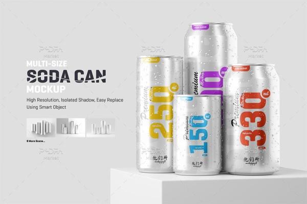 موکاپ قوطی آلومینیومی انواع نوشیدنی