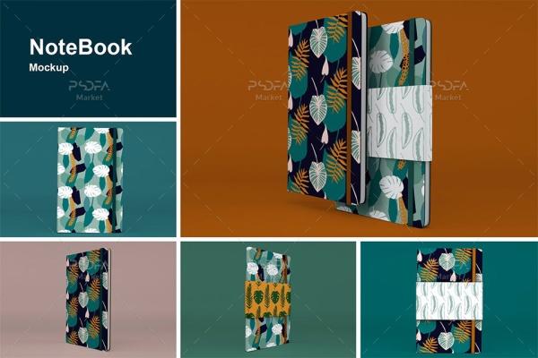 موکاپ دفترچه یادداشت در نماهای مختلف NoteBook Mockups