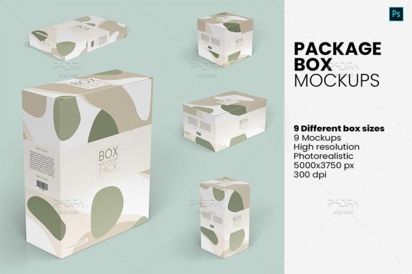 موکاپ انواع جعبه در سایز و ابعاد مختلف Package Box Mockups