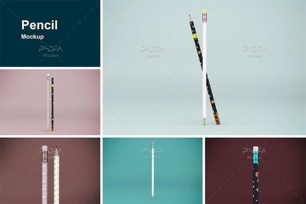 موکاپ مداد در نماهای مختلف قابل ویرایش در فتوشاپ Pencil Mockups