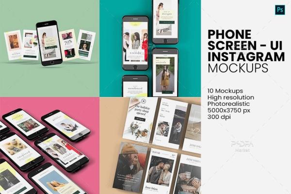 موکاپ موبایل مناسب برای رابط گرافیکی و اینستاگرام قابل ویرایش در فتوشاپ