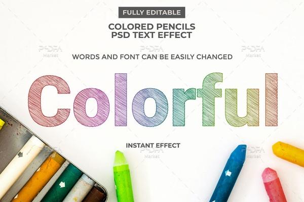 افکت متن نقاشی مداد رنگی