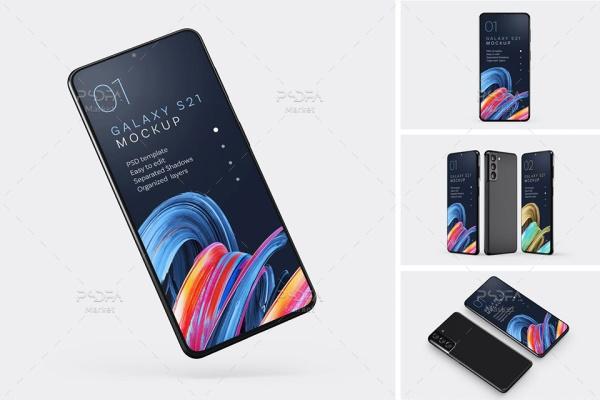 موکاپ موبایل گلکسی اس 21 در نماهای مختلف Galaxy S21 Mockup