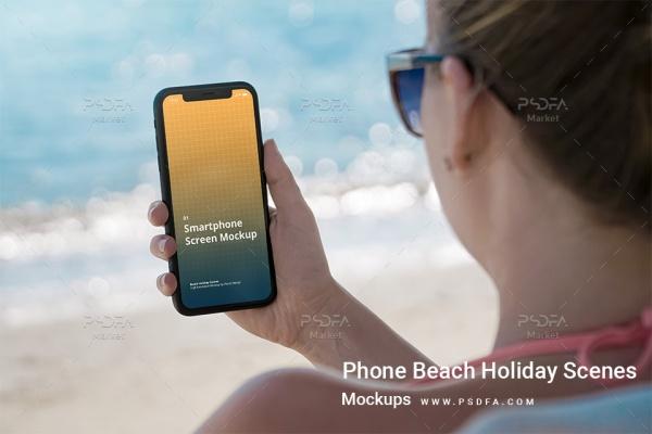 موکاپ موبایل آیفون در دست در حالات و نماهای مختلف