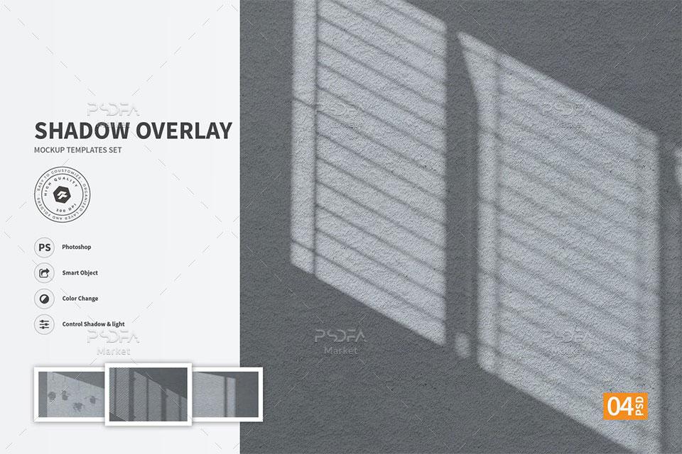 افکت سایه پنجره روی دیوار لایه باز قابل استفاده در فتوشاپ