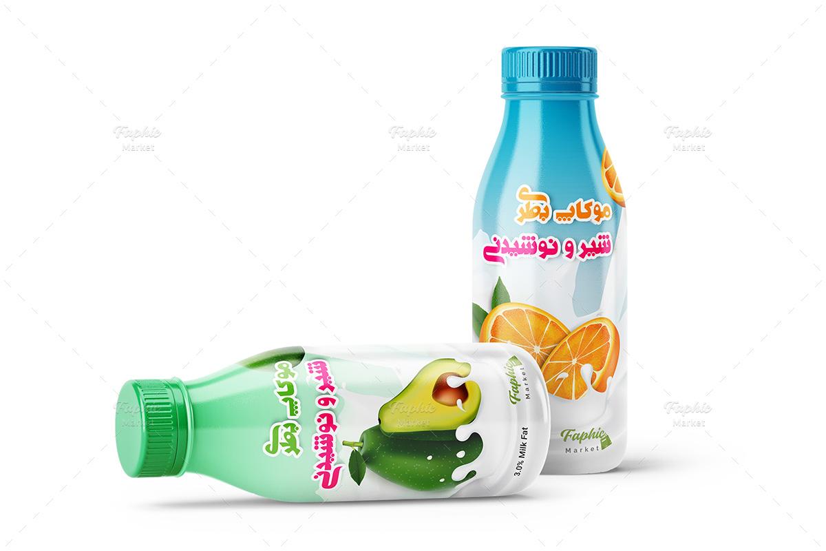 موکاپ بطری شیر و آبمیوه