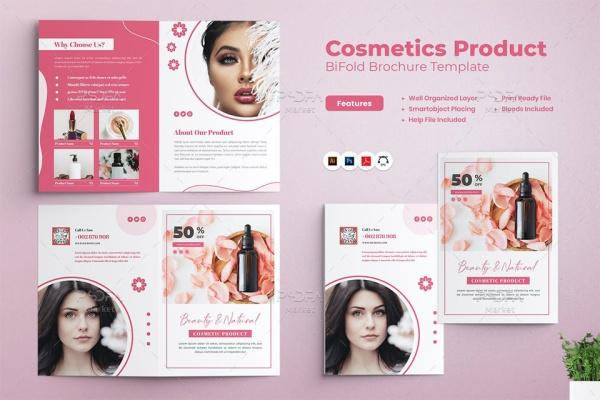 بروشور محصولات آرایشی و بهداشتی دو لتی لایه باز برای فتوشاپ و ایلوستریتور
