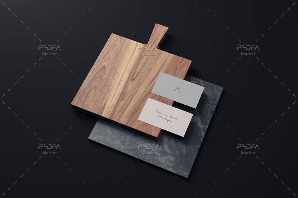 موکاپ کارت ویزیت روی سنگ و چوب