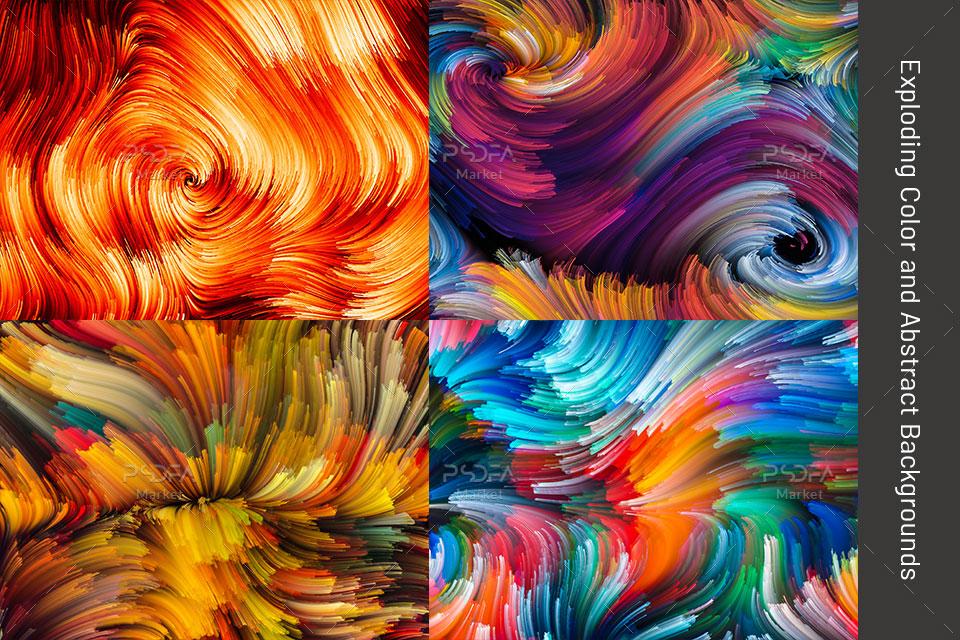 بک گراند خطوط و امواج رنگی انتزاعی