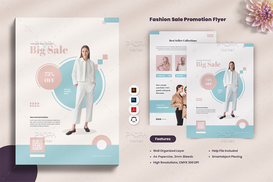 تراکت تبلیغاتی فروش لباس و پوشاک زنانه