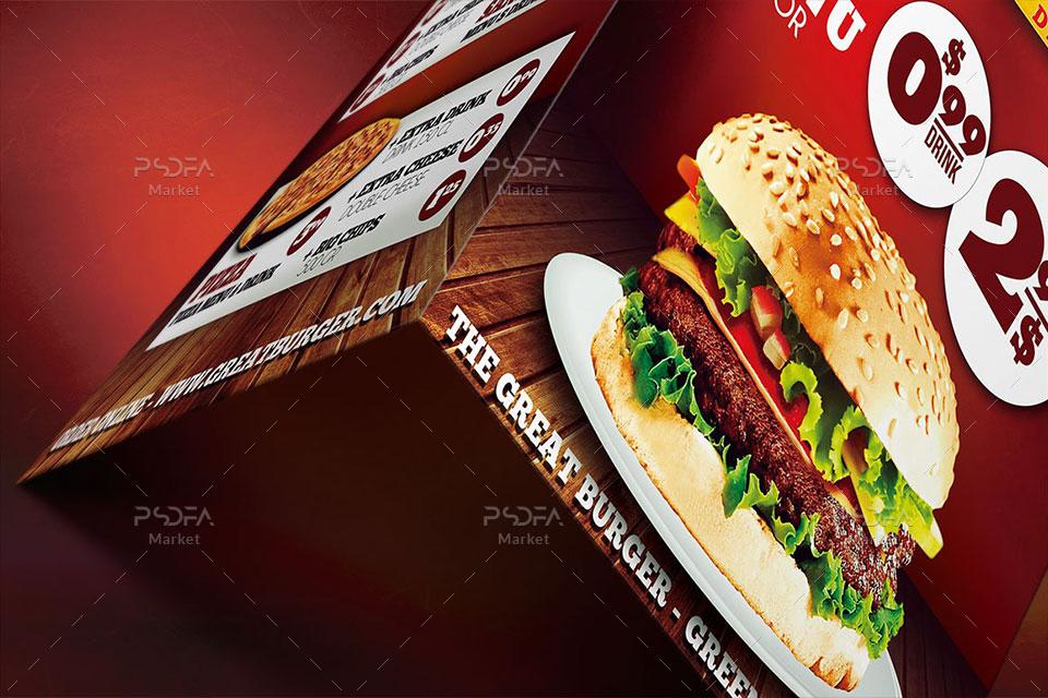 طرح منوی غذایی فست فود و رستوران