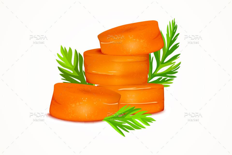 وکتور هویج و هویج برش خورده