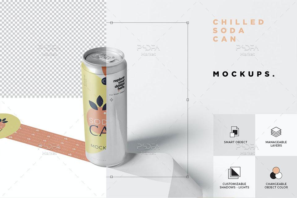 موکاپ قوطی آلومینیومی رانی و نوشیدنی خنک