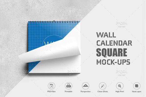 موکاپ تقویم دیواری مربعی