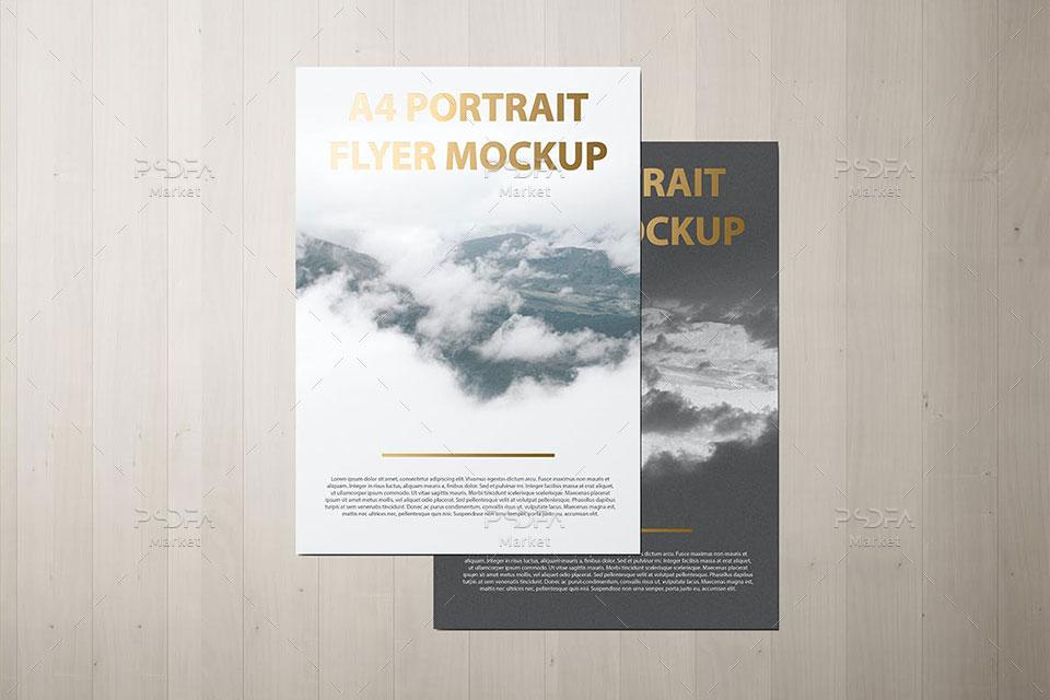 موکاپ تراکت سربرگ کاغذ A4 و پوستر