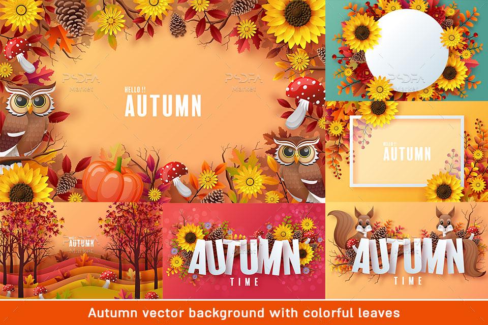وکتور بک گراند پاییز با برگهای رنگی