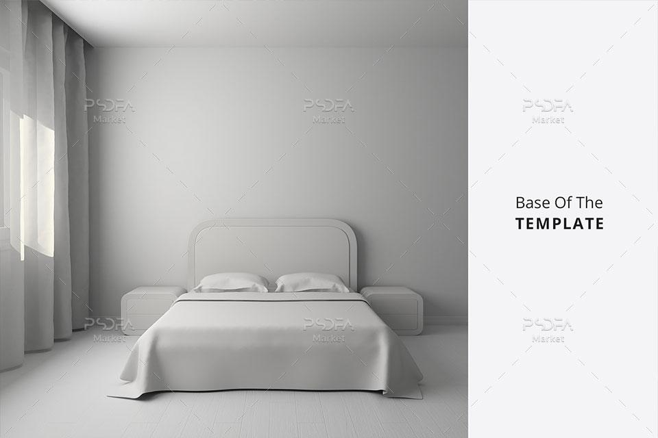 موکاپ اتاق خواب با تختخواب