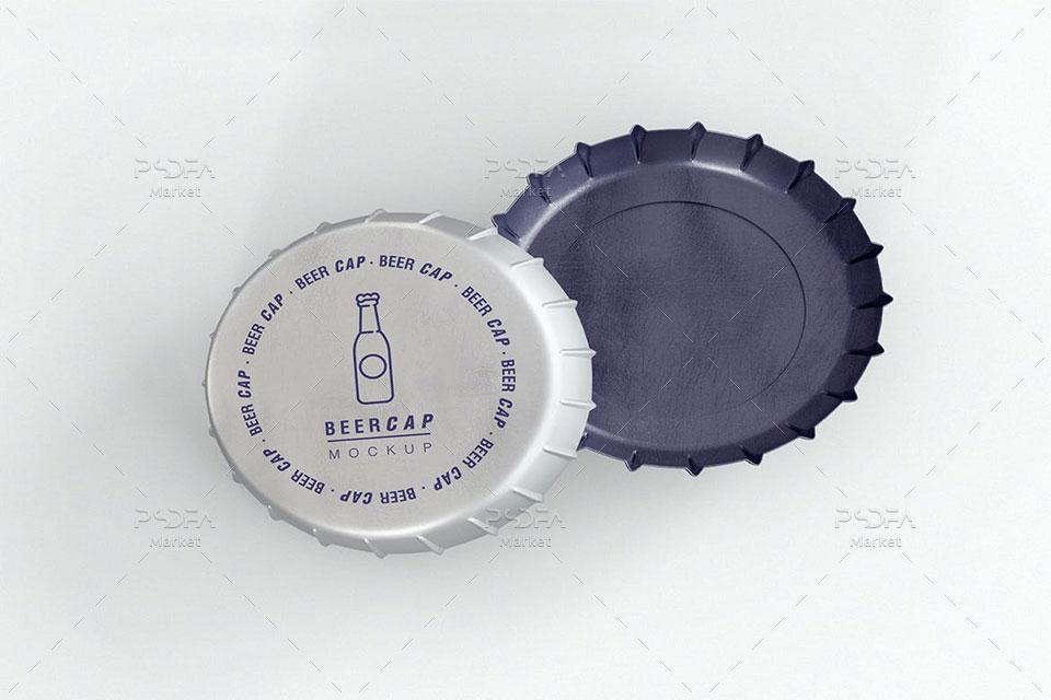 موکاپ درب و تشتک بطری نوشابه
