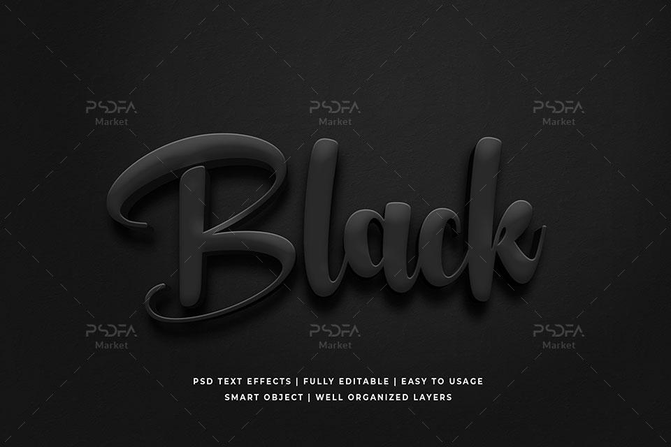 استایل و افکت متن سه بعدی 3D تیره و مشکی