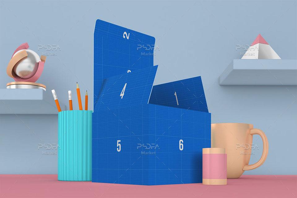 موکاپ جعبه و کارتن مکعبی