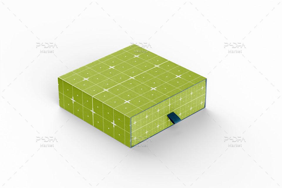 موکاپ جعبه محصول سه بعدی کشویی بسته